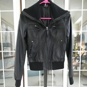 Black Urban Outfitters Faux Leather Bomber Jacket